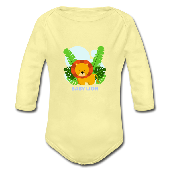 Baby lion Organic Long Sleeve Baby Bodysuit - washed yellow
