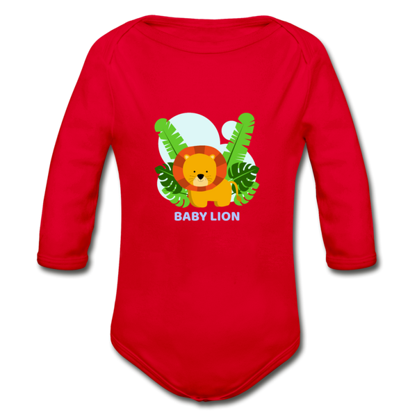 Baby lion Organic Long Sleeve Baby Bodysuit - red