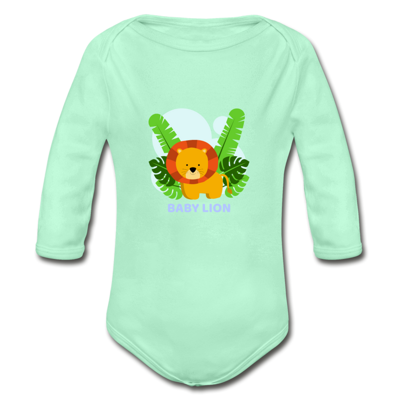 Baby lion Organic Long Sleeve Baby Bodysuit - light mint