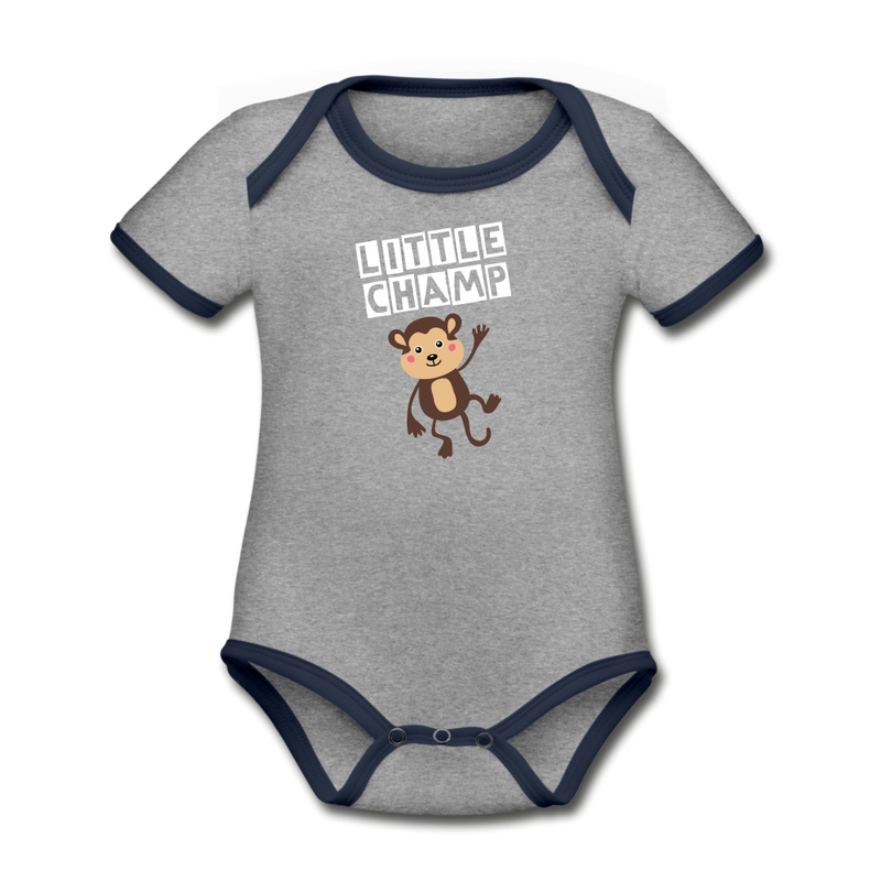 Little champ Organic Contrast Short Sleeve Baby Bodysuit - heather gray/navy