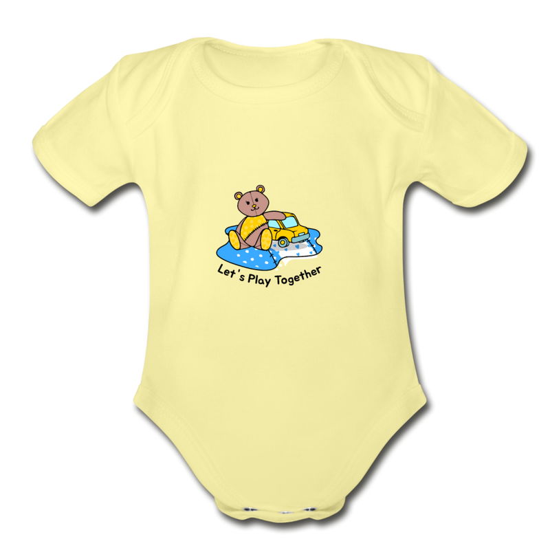 Lets Play together Organic Short Sleeve Baby Bodysuit - washed yellow