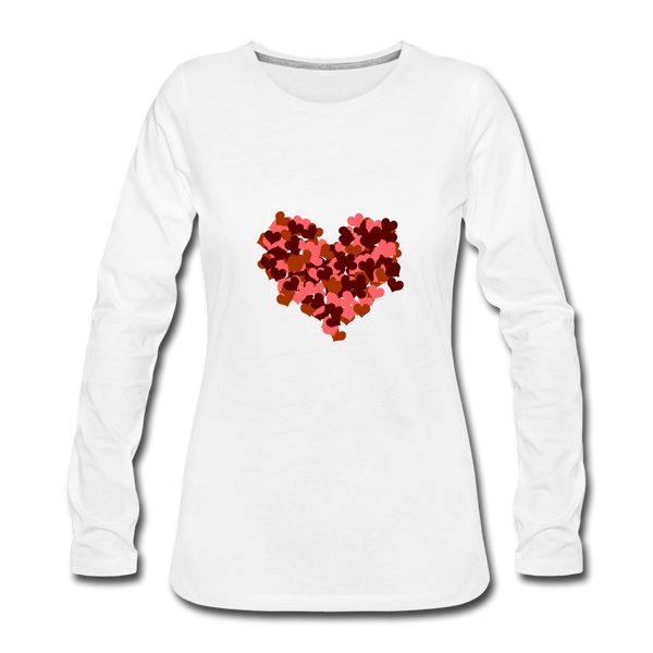 Hearts Women's Premium Slim Fit Long Sleeve T-Shirt - white