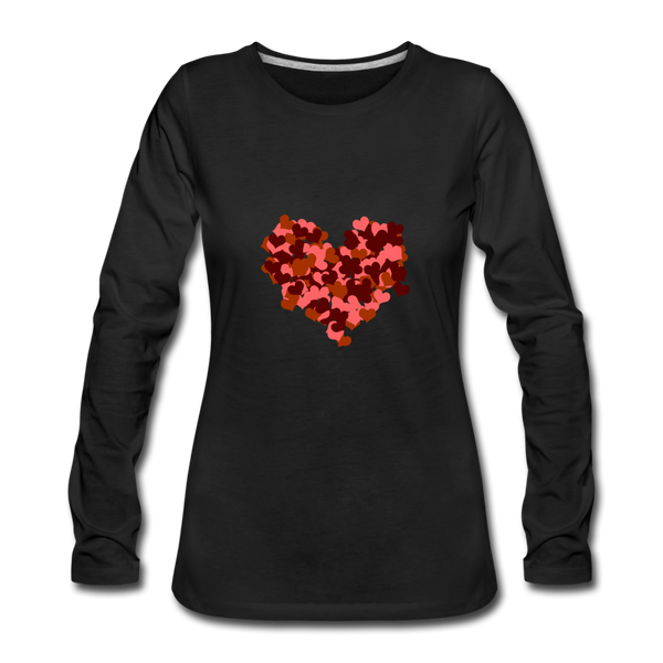 Hearts Women's Premium Slim Fit Long Sleeve T-Shirt - black