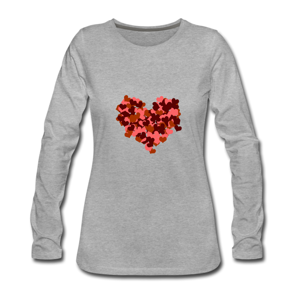 Hearts Women's Premium Slim Fit Long Sleeve T-Shirt - heather gray