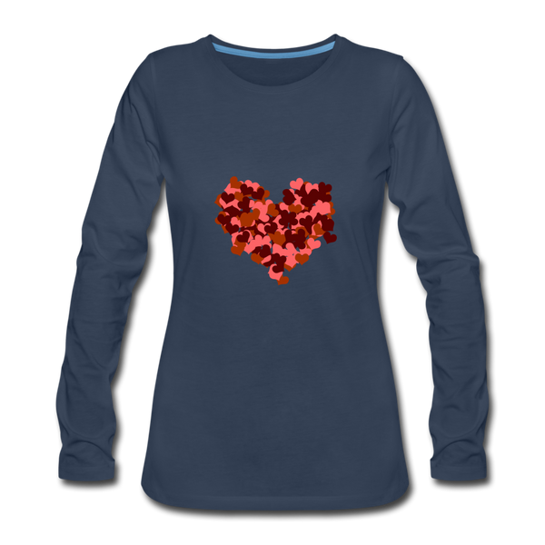 Hearts Women's Premium Slim Fit Long Sleeve T-Shirt - navy
