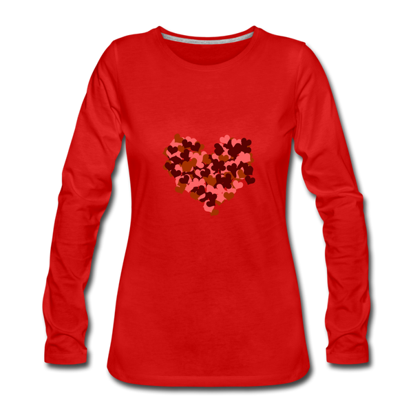 Hearts Women's Premium Slim Fit Long Sleeve T-Shirt - red