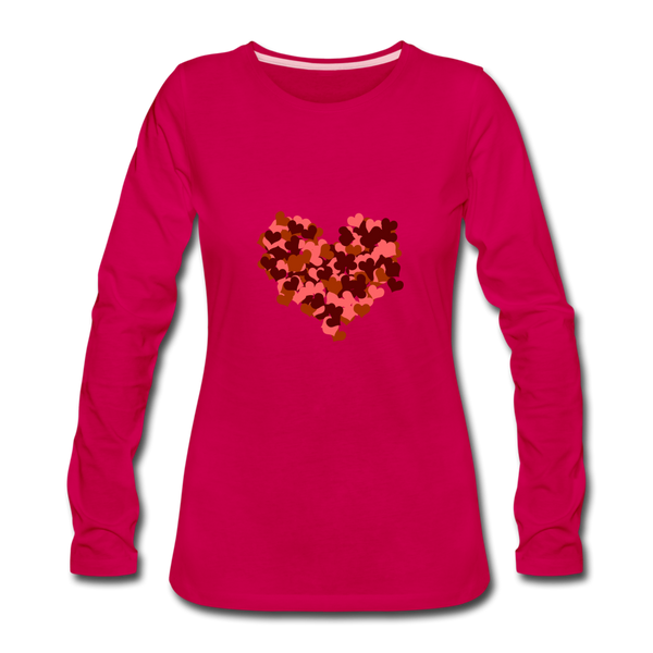 Hearts Women's Premium Slim Fit Long Sleeve T-Shirt - dark pink
