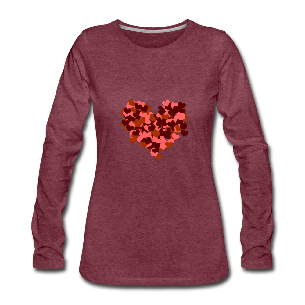 Hearts Women's Premium Slim Fit Long Sleeve T-Shirt - heather burgundy