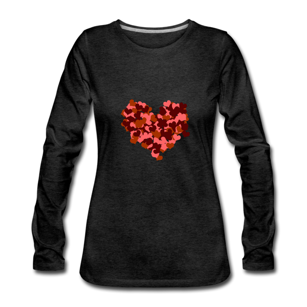 Hearts Women's Premium Slim Fit Long Sleeve T-Shirt - charcoal gray