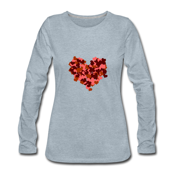 Hearts Women's Premium Slim Fit Long Sleeve T-Shirt - heather ice blue