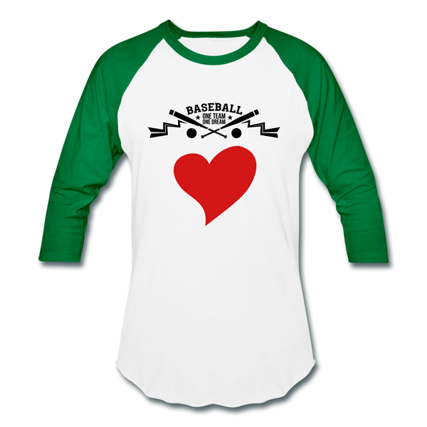 Love Baseball T-Shirt - white/kelly green