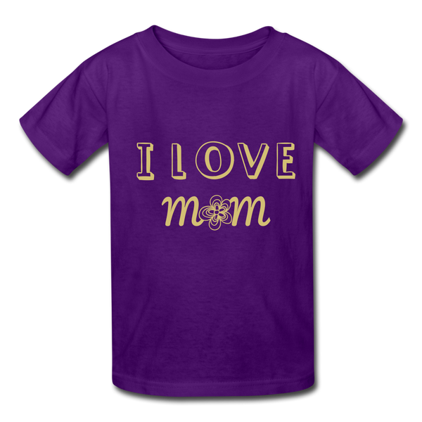 i love mom Kids' T-Shirt - purple