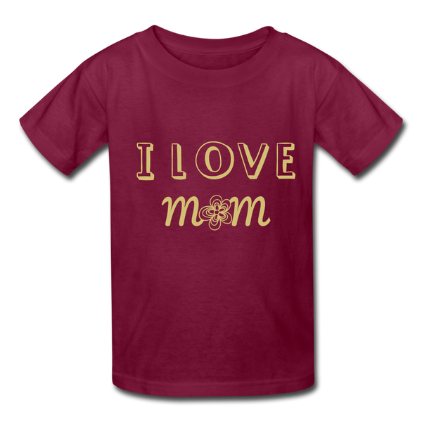 i love mom Kids' T-Shirt - burgundy