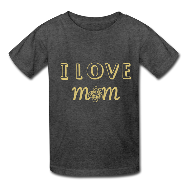 i love mom Kids' T-Shirt - heather black