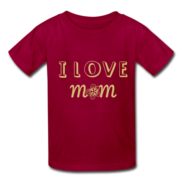 i love mom Kids' T-Shirt - dark red
