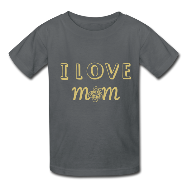 i love mom Kids' T-Shirt - charcoal