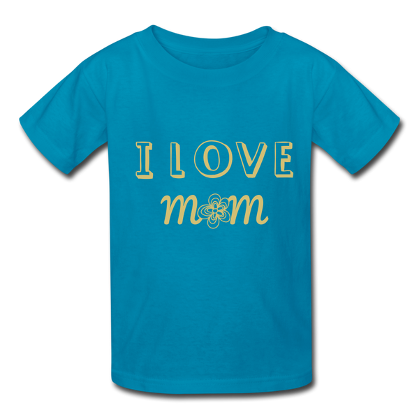 i love mom Kids' T-Shirt - turquoise