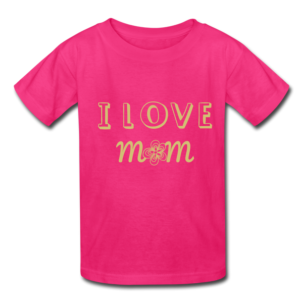 i love mom Kids' T-Shirt - fuchsia