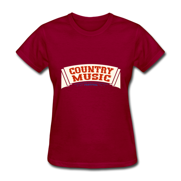 Country Music Women's T-Shirt - dark red