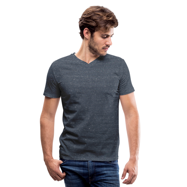 Men's V-Neck T-Shirt by Canvas - heather navy