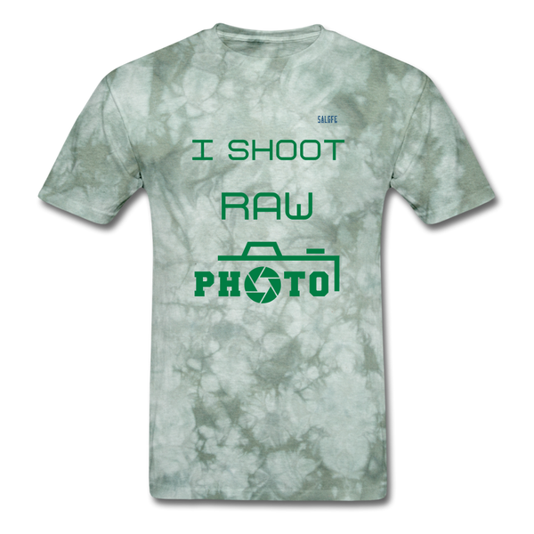 I Shoot Raw Men's T-Shirt - military green tie dye