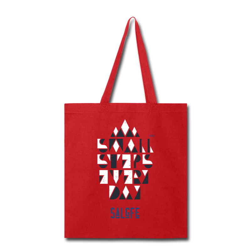 Small Steps Every Day Tote Bag - red