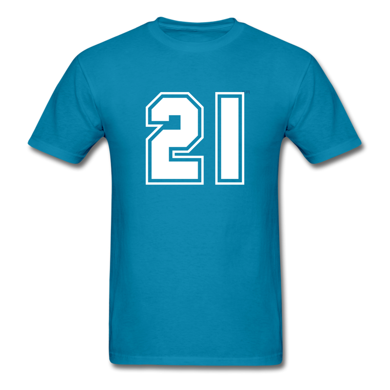 Number 21 Men's T-Shirt - turquoise