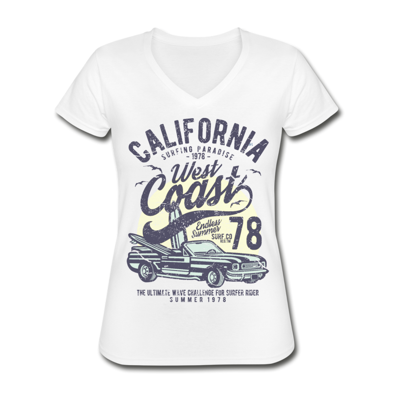 California Surfing Women's V-Neck T-Shirt - white