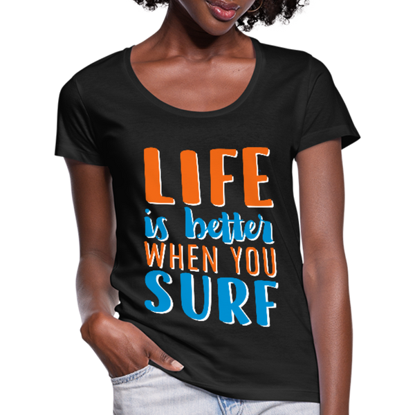 Surf Women's Scoop Neck T-Shirt - black