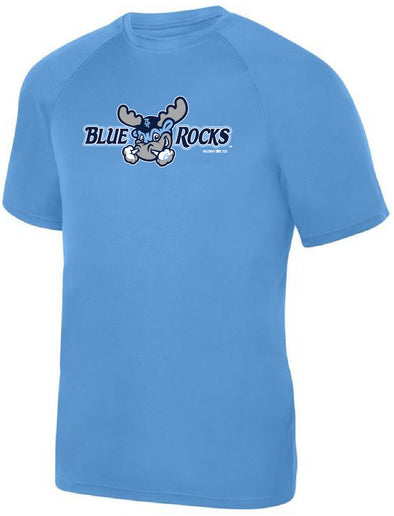 Wilmington Blue Rocks Youth Carolina Blue Alt. Primary Logo Poly Tee