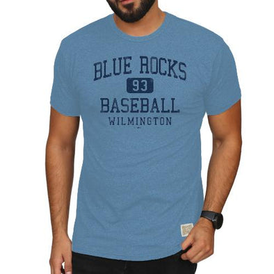 Wilmington Blue Rocks Adult Car. Blue Mock Twist Tee