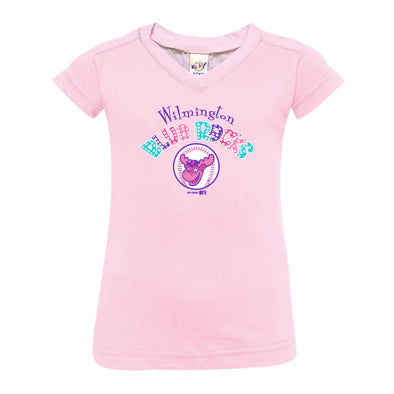 Wilmington Blue Rocks Infant Pink Dot V-Neck Tee