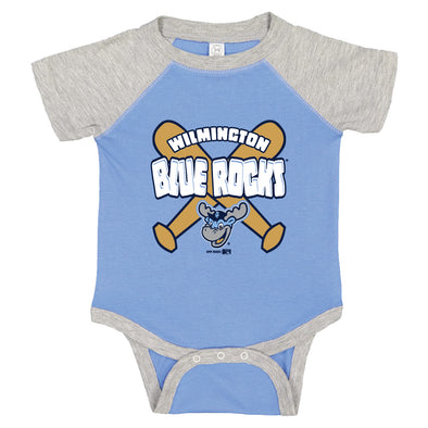 Wilmington Blue Rocks Infant Car. Blue/Heather Bodysuit