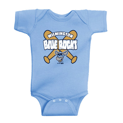 Wilmington Blue Rocks Infant Car. Blue Lap Shoulder Creeper