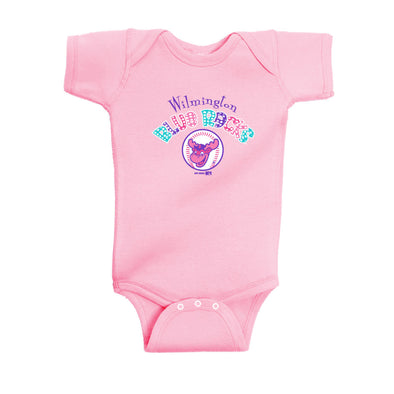 Wilmington Blue Rocks Infant Pink Lap Shoulder Creeper