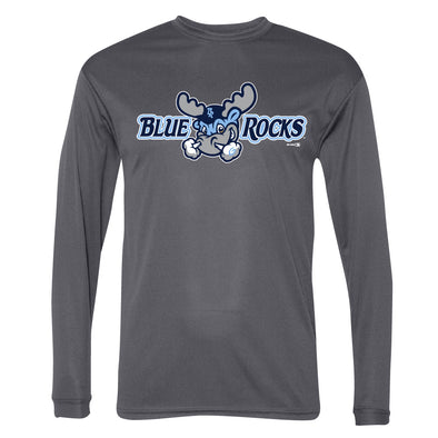 Wilmington Blue Rocks Adult Graphite Primary Logo Performance L/S Tee