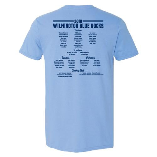 Wilmington Blue Rocks Adult Car. Blue 2019 Carolina League Champs Tee