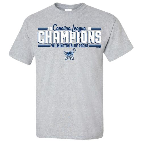 Wilmington Blue Rocks Adult Gray 2019 Carolina League Champions Tee