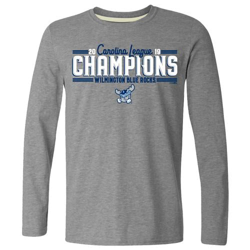 Wilmington Blue Rocks Adult Graphite Heather '19 Championship L/S Tee