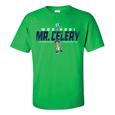 Wilmington Blue Rocks Adult Irish Green Mr. Celery Office Tee