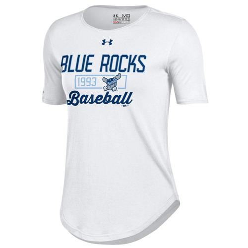 Wilmington Blue Rocks Ladies White 60 40 Tee