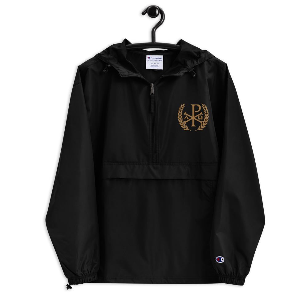 Chi Rho Embroidered Packable Jacket - Sanctus Supply Co.