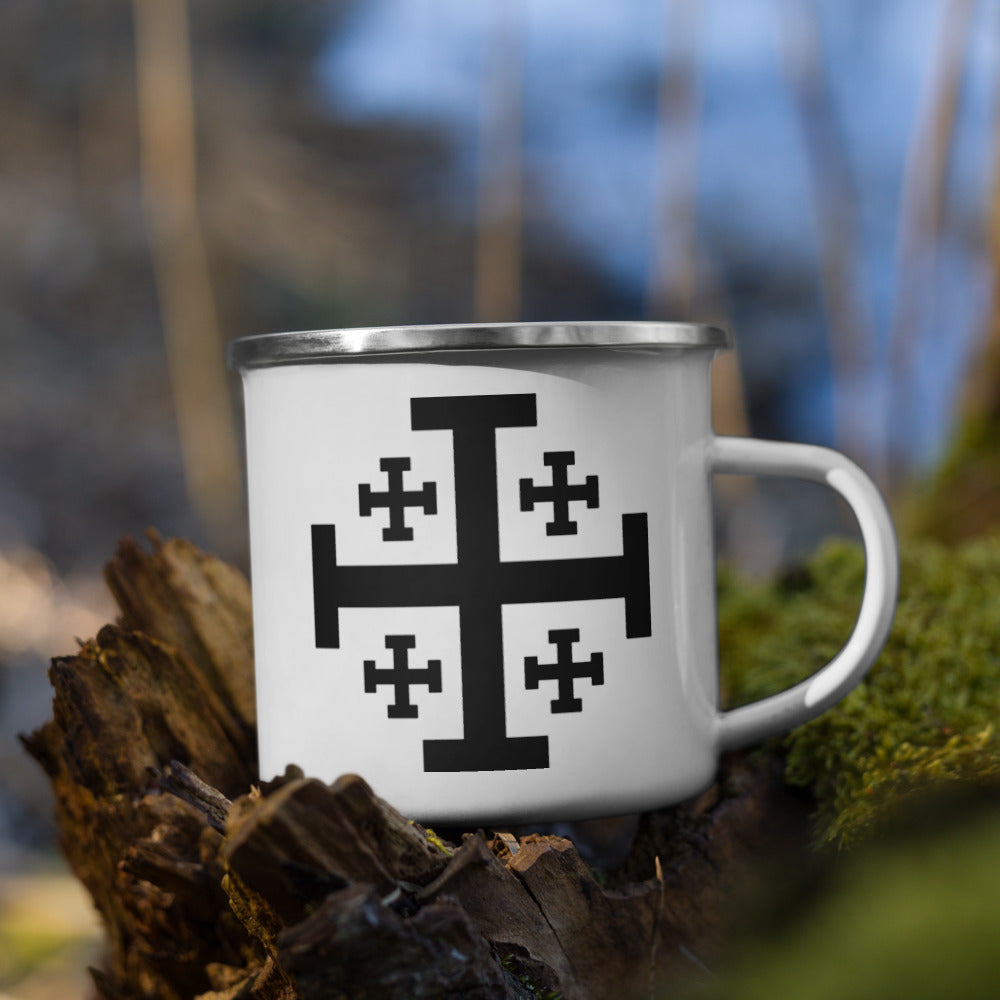 Jerusalem Cross Enamel Mug - Sanctus Supply Co.