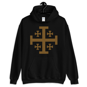 Jerusalem Cross Hooded Sweatshirt - Sanctus Supply Co.