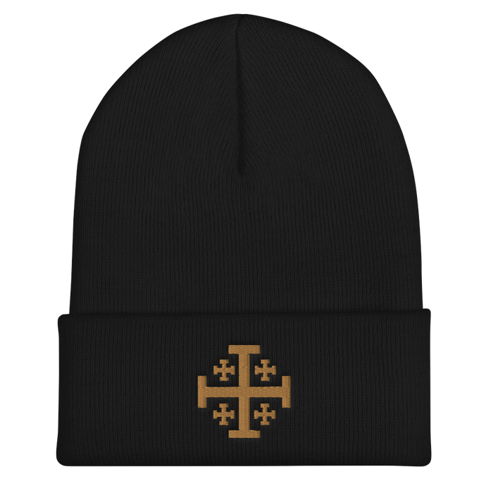 Jerusalem Cross Cuffed Beanie - Sanctus Supply Co.