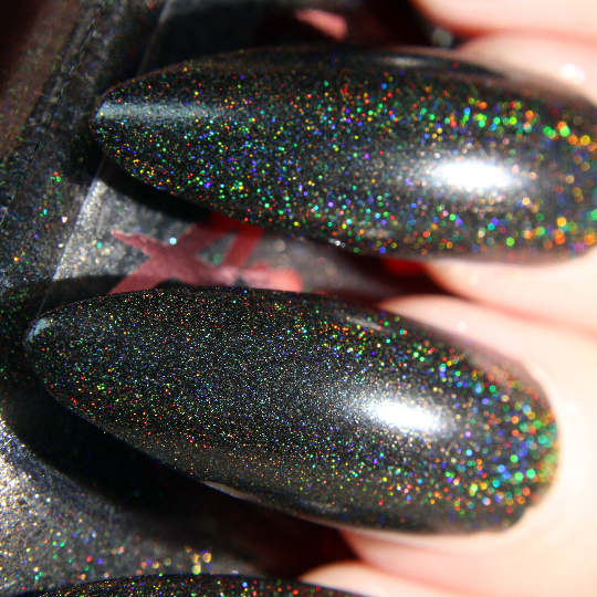 Morticia - black ultimate holographic Halloween nail polish