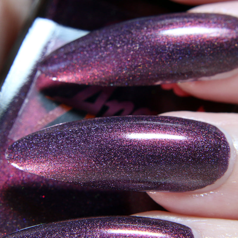 VVitch - deep purple with red shift shimmer nail polish vegan