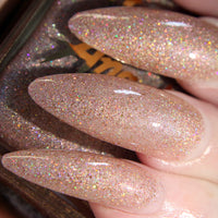 AfterGlow - blush nude w/ gold glitter nail polish vegan