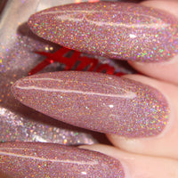 Angel Wings - soft pink w/ gold glitter super holo vegan nail polish