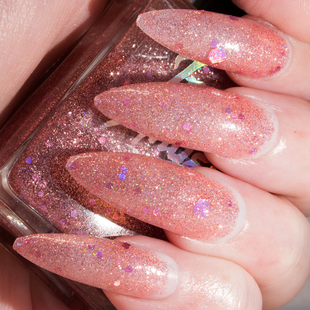 BabyGay - light rose glitter with chunky holo glitter nail polish vegan